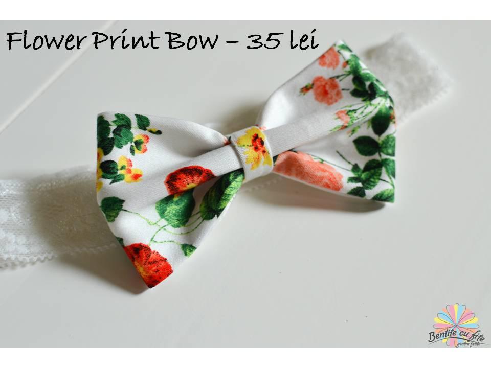 Flower Print Bow